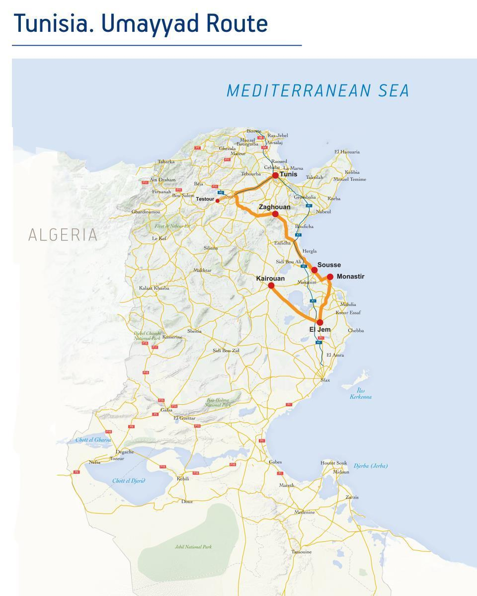 Tunisian Route Umayyad Route - Tunisia map africa